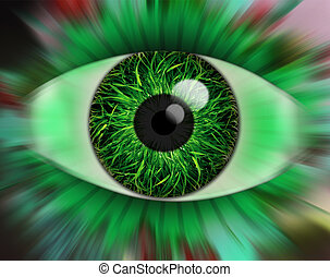 Eye - Illustration of an Eye with a grass