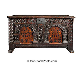 beautiful old antique coffer trunk chest carved with...