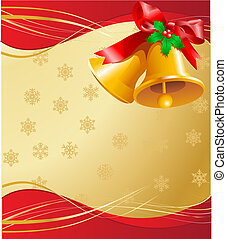Christmas Bells Card - Golden Christmas background with...