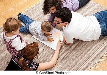 casa, disegno, famiglia
