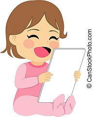 Baby Girl Tablet - Cute little baby girl having fun playing...