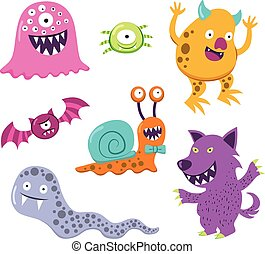 Halloween Monster Animal Characters - Collection of...