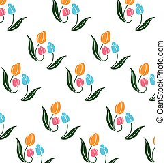 Pattern of tulips - Pattern of blue and orange tulips and...