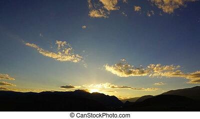 beautiful mountain sunset - timelapse
