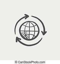 Globe with arrow sketch icon.