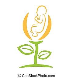 newborn child in flower