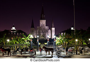 Horse Carriages - Horse carriages outside Jackson Square in...