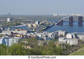 Kiev cityscape - Kiev panorama View over Podil district and...