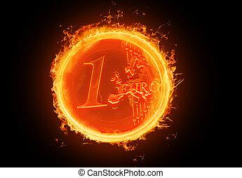 fiery Euro - illustration of a fiery Euro