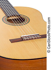 Six-string guitar closeup - Classical six-string guitar...