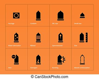 Health care. Condom icons on orange background.