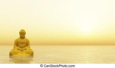 Golden Buddha - 3D render - Golden buddha meditating by...