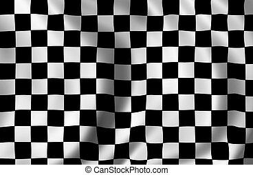 checkered racing flag waiving detail
