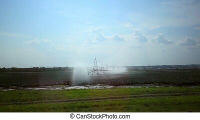 Automated Agricultural Irrigation sprinkler system in...