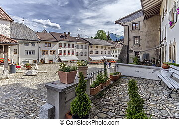 Street in Gruyeres village, Fribourg, Switzerland - Street...