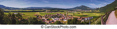 Panoramic view of Gruyeres area, Fribourg, Switzerland -...