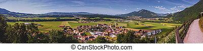 Panoramic view of Gruyeres area, Fribourg, Switzerland -...