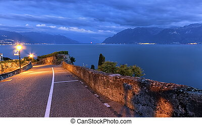 Road in Lavaux region, Vaud, Switzerland - Road in Lavaux...