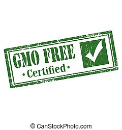 GMO Free - Grunge rubber stamp with text GMO FREE,vector...