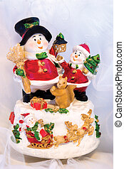 Christmas toy with snowmans and santa