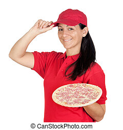 Delivery woman of pizza isolated on white background