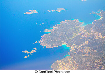 aerial view of costa smeralda coastline, Italy