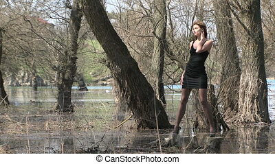 Model Posing At Park Zone In Flood