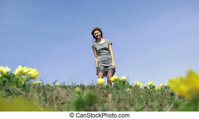 Young Cheerful Lady Being Positive At The Meadow - Low angle...