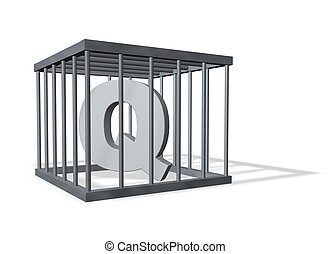 big Q in a cage - uppercase letter Q in a cage on white...