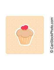 Sweet flat vector cupcake with dots