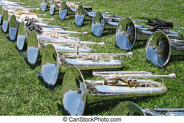 Musical Instruments - Marching baritones lined up on the...