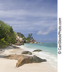 tropical beach - Anse Source dArgent, one of famous La...