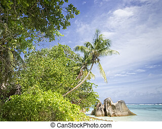 La Digue island beach - Anse Source dArgent, one of famous...