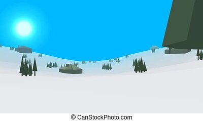 Low poly retro style frozenland - Low poly retro style...