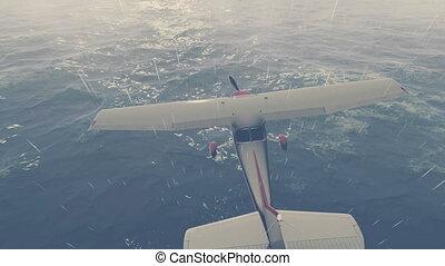 Small plane flies over night ocean