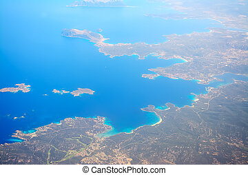 Costa Smeralda shoreline seen from above - Aerial view of...