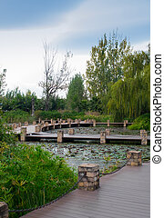 Chinese park with a pond