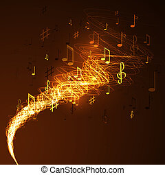 abstract music background - illustration with neon line...