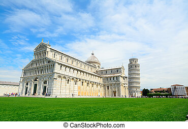 world famous Piazza dei Miracoli in Pisa with leaning tower...