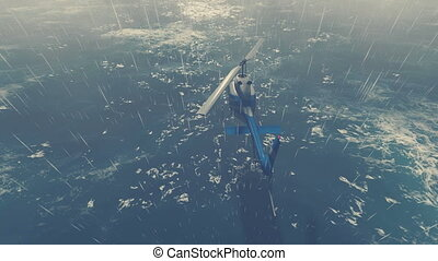 Helicopter flies over stormy ocean - Rescue helicopter flies...