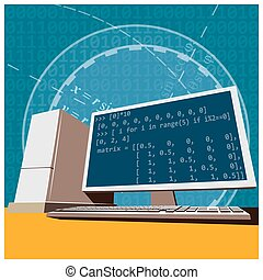 engineering - Stylized vector illustration on the theme of...