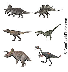 Set of dinosaurs - 3D render - Six various dinosaurs on...