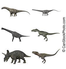 Conjunto, de, dinosaurios, -, 3D, render,