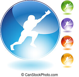 Catching Football Crystal Icon - Catching football crystal...