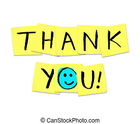 Thank You - Words on Yellow Sticky Notes - The words Thank...