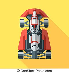 Kart with driver icon Vector illustration in flat style