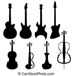 Set of string instruments Electric cello, bass guitar,...