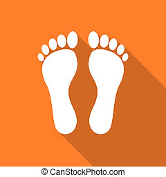 foot flat design modern icon with long shadow for web and...