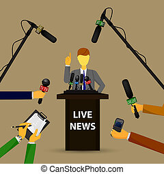 concept live news, reports, interviews - illustration of a...