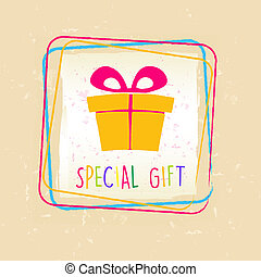 special gift with present box sign in frame over old paper background